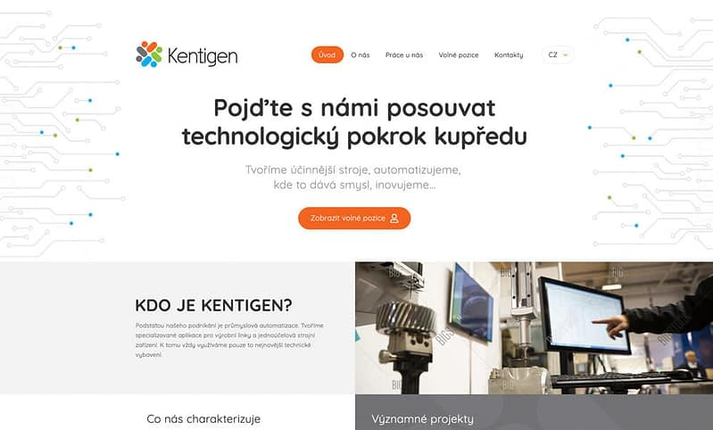 webdesign of kentigen website