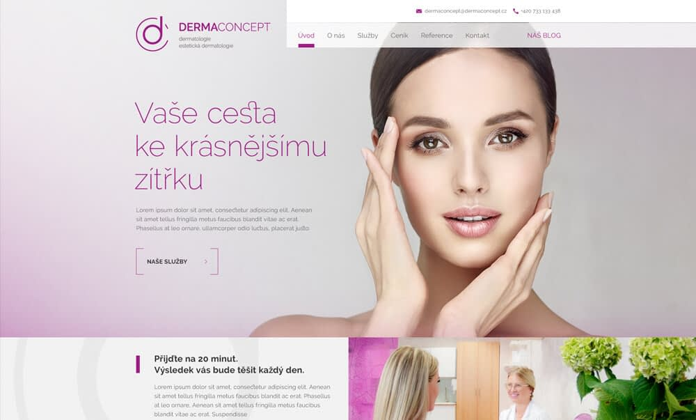 webdesign of dermaconcept website
